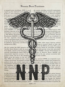 Neonatal Nurse Practitioner Gift Idea With Caduceus Illustration by Aged Pixel