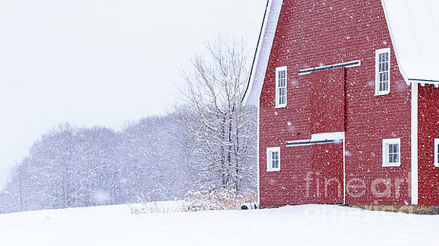 New England Snowstorm Red Barn by Edward Fielding