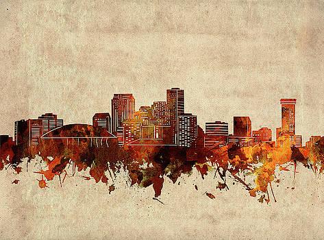 New Orleans Skyline Sepia by Bekim Art