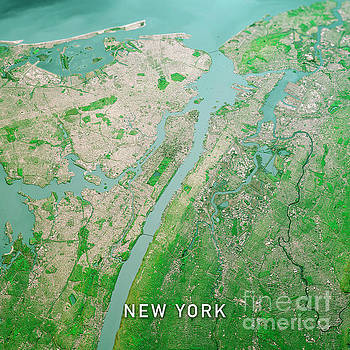 Frank Ramspott - New York City 3D Render Topo Landscape View From North Apr 2019