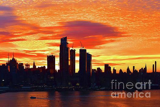 Regina Geoghan - New York City at Sunrise in Orange and Gold