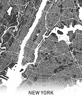New York Map black and white by Delphimages Photo Creations
