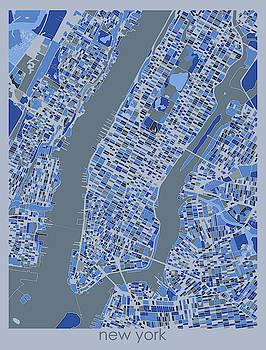 New York Map Retro 5 by Bekim M