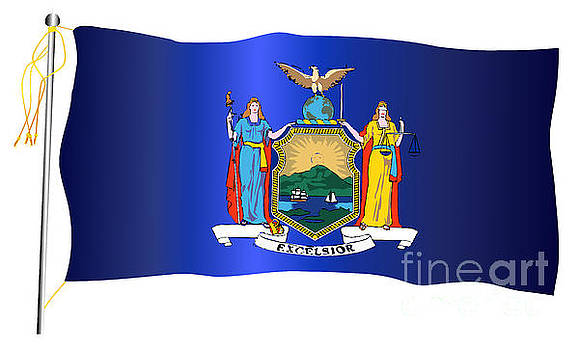 New York State Waving Flag And Flagpole by Bigalbaloo Stock