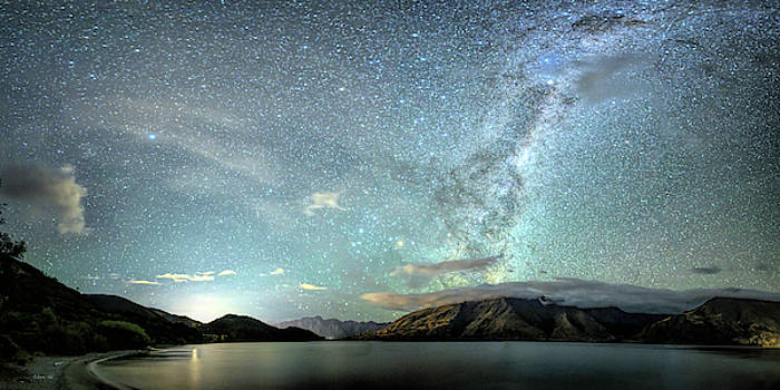 New Zealand Southern Hemisphere Skies Over Lake Wakatipu by OLena Art  by OLena Art