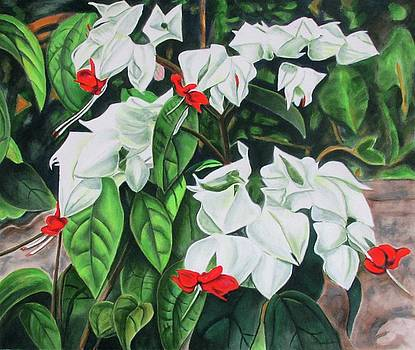 Nice Red And White Flowers by Suzahn King