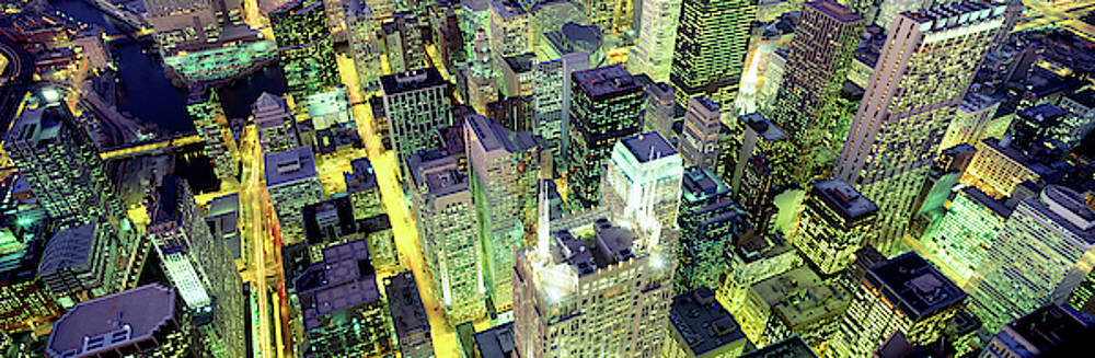 Night, Chicago, Illinois, Usa by Panoramic Images