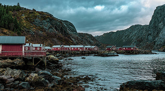 Norway Panoramic view of Lofoten Islands in Norway with sunset scenic by Kai Mueller