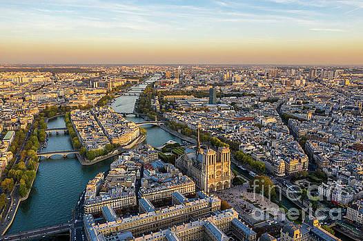 Notre Dame and Ile de la Cite Aerial View by Mike Reid