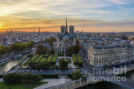 Notre Dame de Paris Aerial Sunset View by Mike Reid