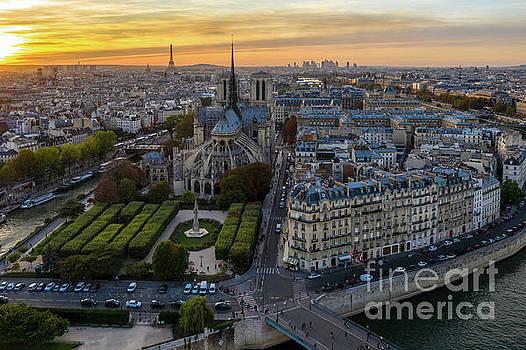 Notre Dame de Paris Aerial View by Mike Reid