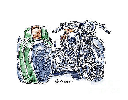 Frank Ramspott - NSU D601 TS Motorcycle Sidecar Ink Drawing and Watercolor