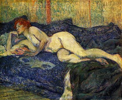 Nu Couche Naked Lying - 1897 by Henri de Toulouse-Lautrec