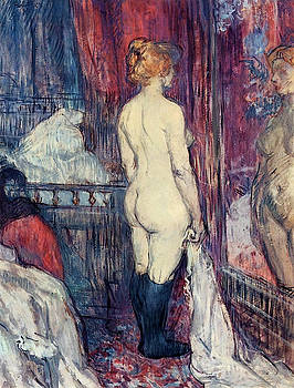 Nude Standing before a Mirror - 1897 - PC - Painting - oil on cardboard by Henri de Toulouse-Lautrec