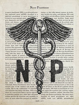 Nurse Practitioner Gift Idea With Caduceus Illustration 01 by Aged Pixel