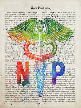 Nurse Practitioner Gift Idea With Caduceus Illustration 03 by Aged Pixel