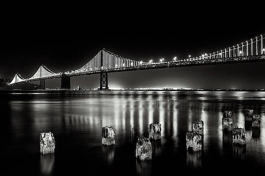 Oakland Bay Bridge Lights by Daniel Hagerman