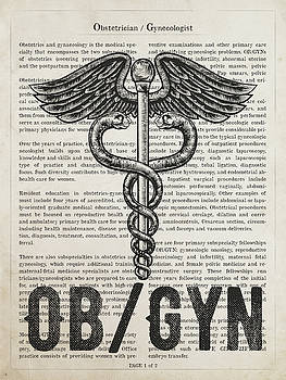 Obstetrician Gynecologist  Gift Idea With Caduceus Illustration  by Aged Pixel