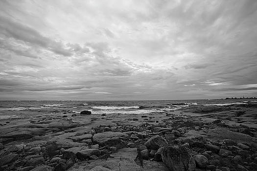 Ocean waves rolling towards a rocky beach - monochrome by Ulrich Kunst And Bettina Scheidulin