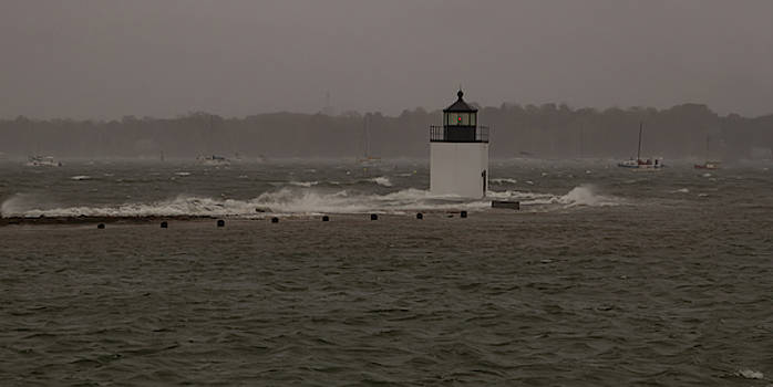 October Storm at Derby Wharf Lighthouse by Jeff Folger