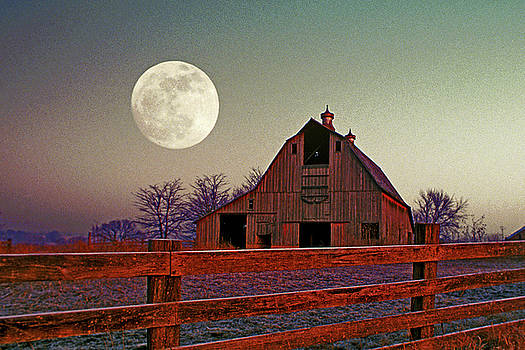 Old Barn and Moon by Rick Grisolano Photography LLC