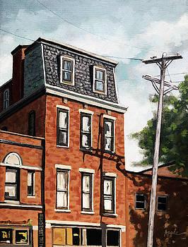Old Brick Building oil painting  by Linda Apple