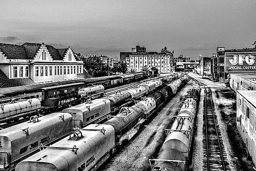 Sharon Popek - Old City Train Tracks Black and White