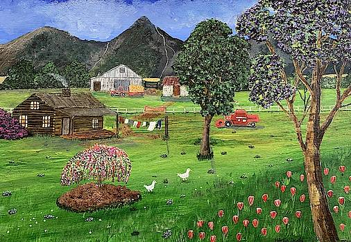 Old Farm House Landscape Painting by Martin Dardis