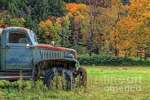 Old Farm Truck Autumn Fall Foliage Vermont by Edward Fielding