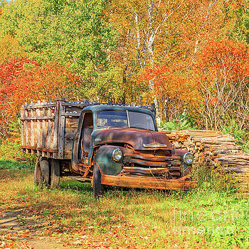 Old Farm Truck Fall Foliage Vermont Square by Edward Fielding