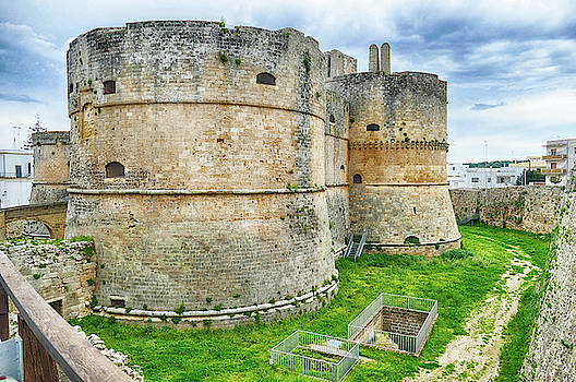 Old fortification tower and walls of  Otranto by Steve Estvanik