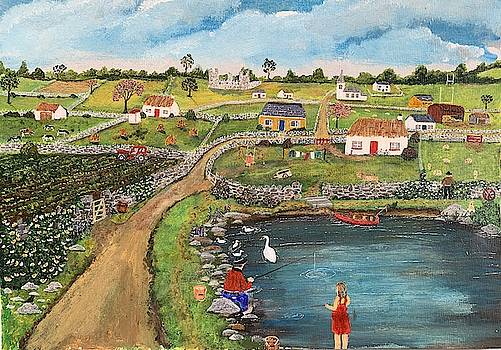 Old Irish Thatched Cottage Village Painting by Martin Dardis
