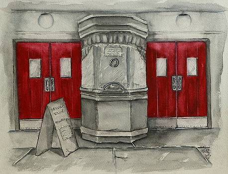 Old Movie Theaters Red Doors by Kelly Mills