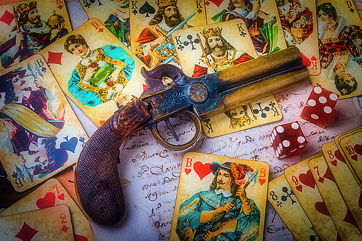 Old Pistole And Playing Cards by Garry Gay