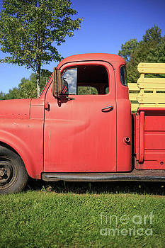 Old red farm truck Vermont by Edward Fielding