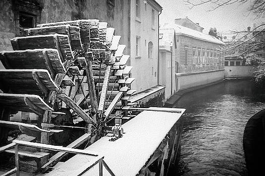 Old Water Wheel Certovka Canal Prague Black and White by Carol Japp