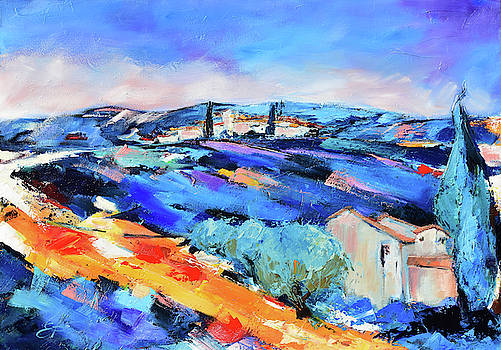 Olive trees and lavender by Elise Palmigiani