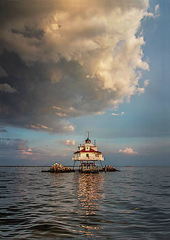 Ominous Clouds O'er Thomas Point Shoal Lighthouse by Dale Hall