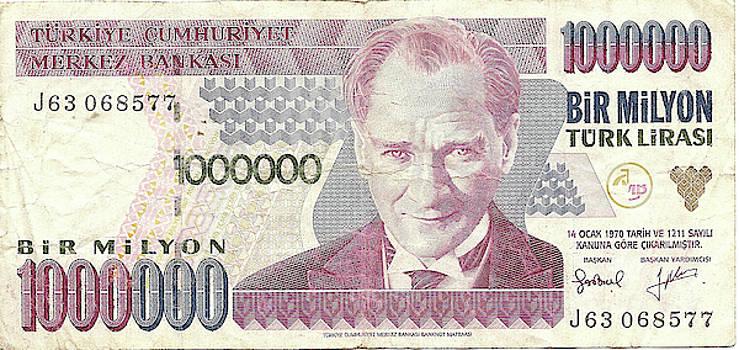 One  million lira note from Turkey by Steve Estvanik