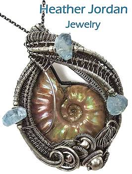 Opalized Ammonite Fossil Pendant Wire-Wrapped in Sterling Silver with Aquamarine by Heather Jordan