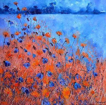 Orange and blue field flowers by Pol Ledent