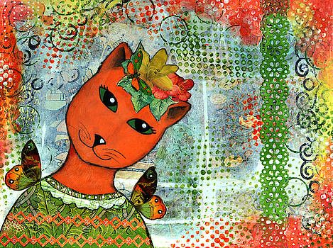 Orange Cat in Green Dress by Cat Whipple