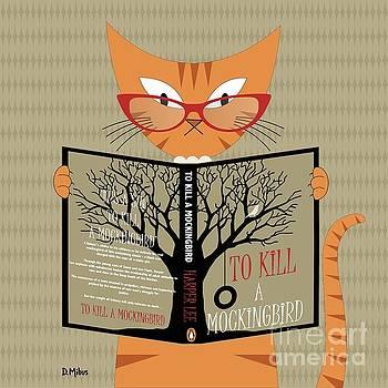 Orange Cat Reading by Donna Mibus