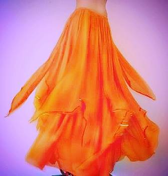 Sofia Metal Queen - Orange chiffon skirt from Ameynra collection 06-A