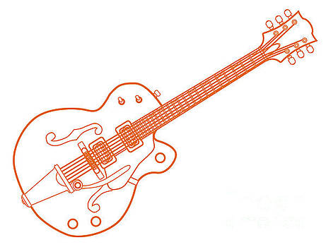 Orange Line Drawing Country and Western Guitar by Bigalbaloo Stock