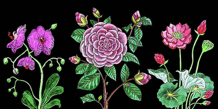 Irina Sztukowski - Orchid Camellia Lotus Flowers Watercolor Bouquet