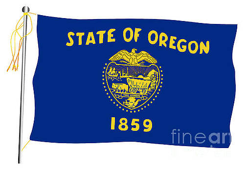 Oregon State Waving Flag And Flagpole by Bigalbaloo Stock