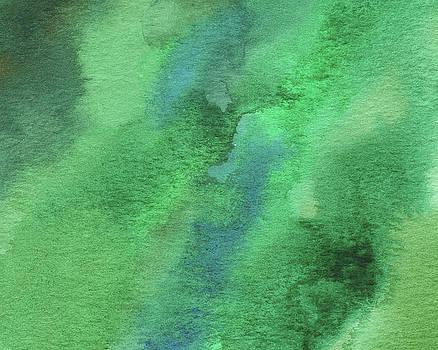 Organic Green Abstract Watercolor Wash by Irina Sztukowski