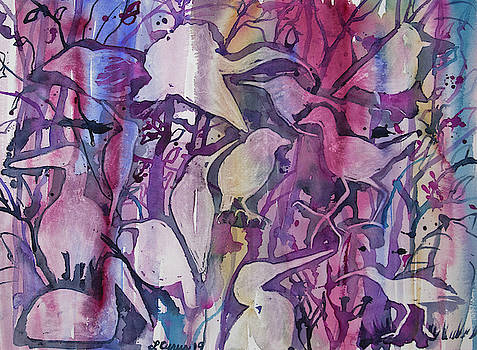Original Watercolor - Abstract Bird Design by Cascade Colors