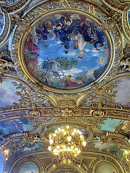 Ornate Ceiling at Le Train Bleu by Dave Mills